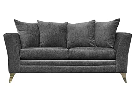 Essex 3-Seat Fabric sofa in Silver by FurnitureXtra