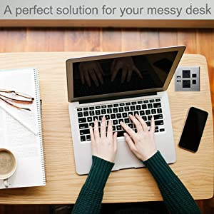 Desktop Conference Room Power Grommet Outlet, FITS 3 1/8 - 3 1/4 Hole, 2 (TR) AC Outlets, 2 USB Charging Ports, 1 CAT 6 Phone line, ETL Listed (SILVER) (Color: DC-8489- Fit 3.15 - 3.25 W/ CAT6 - SILVER)