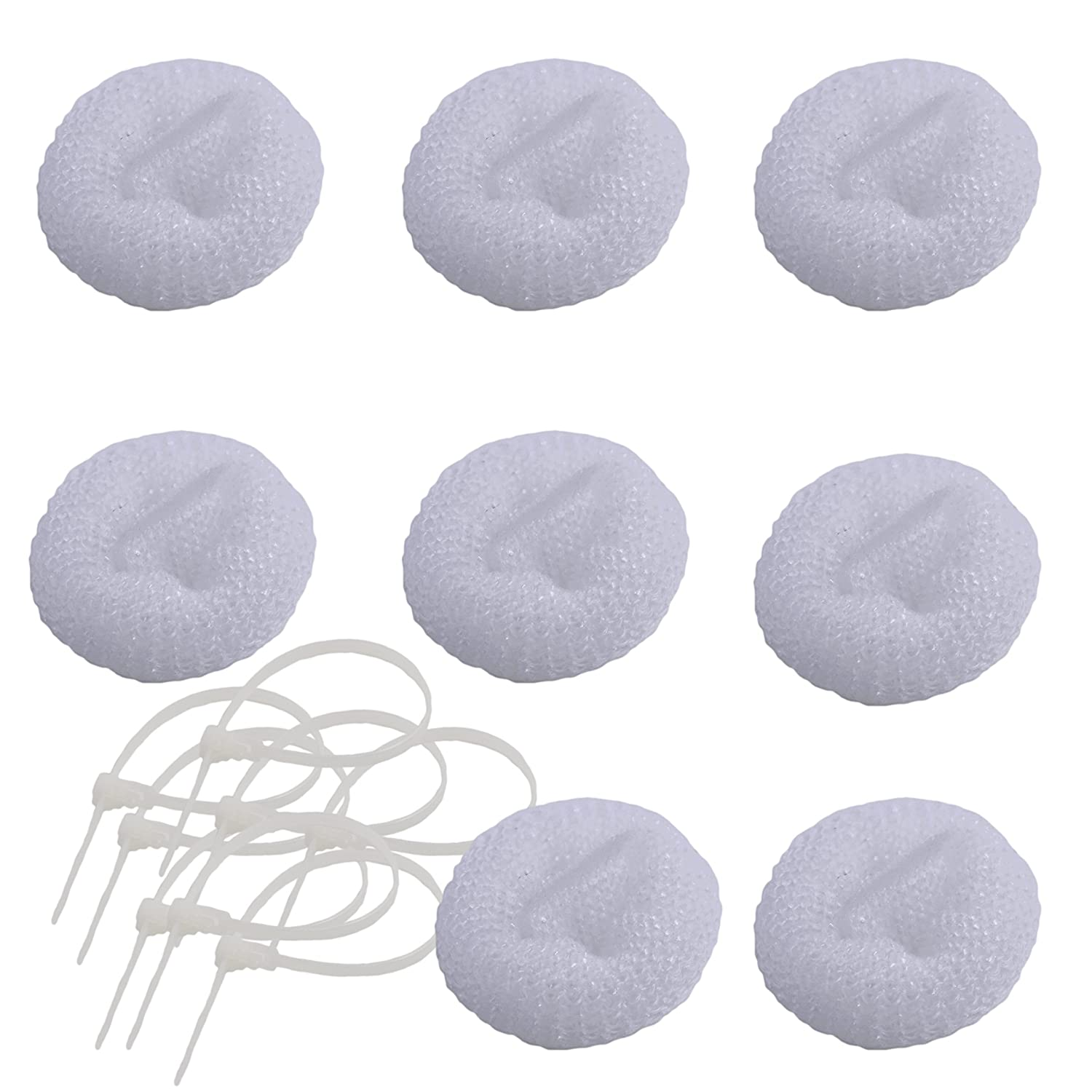 Pack of 8 Washing Machine Mesh Lint Traps with Clamps (Plastic)