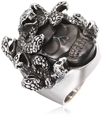 King Baby Medusa Skull Ring with Carved Jet