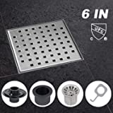 Modbath 6 Inch Square Shower Drain with PVC Base Flange, Floor Drain with Removable Quadrate Pattern Cover for Bathroom, Brushed 304 Stainless Steel, Includes Hair Strainer, Threaded Adapter (Color: Stainless-Steel, Tamaño: 6IN)