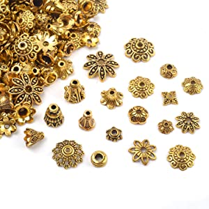 About 150-250pcs Bali Style Jewelry Making Metal Bead Caps Spacers Beads for DIY Bracelet Necklace Jewelry Making 100 Gram
