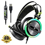 Gaming Headset, 7.1 Surround Sound Gaming Headphones, Noise Cancelling Over Ear USB Headphones with Mic, LED Light, Bass Surround, Mic & Volume Control, Soft Memory Earmuffs for PC, PS4, Laptops (Color: USB-Colorful LED b)