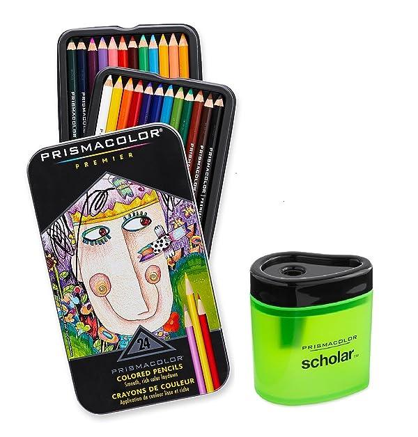 Prismacolor Premier Soft Core Colored Pencil, Set of 24 Assorted Colors (3597T) + Prismacolor Scholar Colored Pencil Sharpener (1774266)