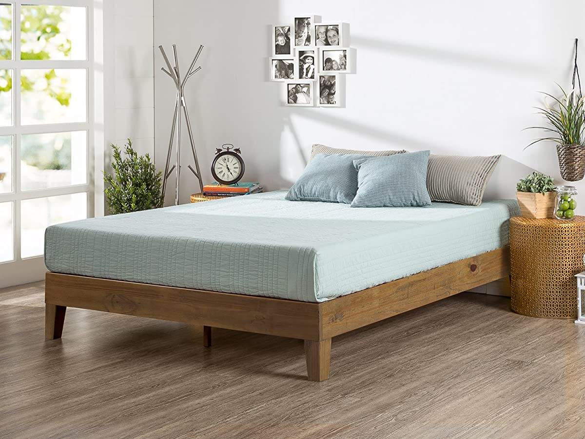 Zinus 12 Inch Deluxe Wood Platform Bed/No Boxspring Needed/Wood Slat Support/Rustic Pine Finish, Queen