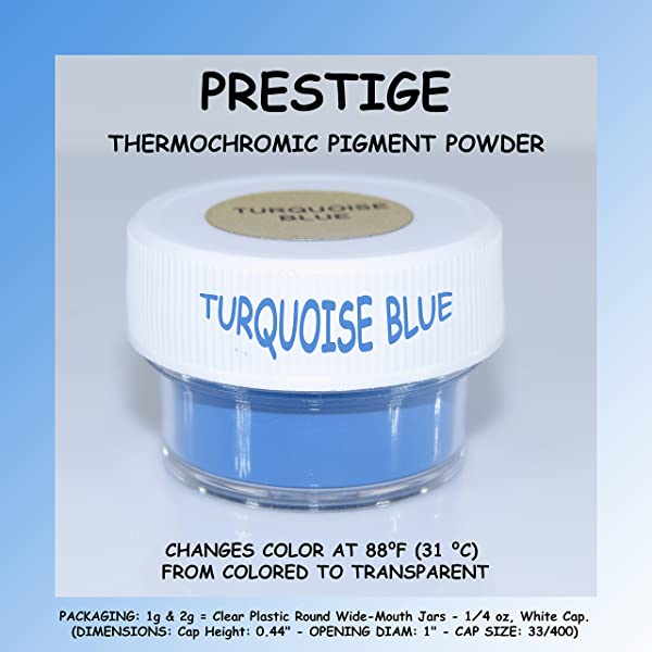 Prestige THERMOCHROMIC Pigment That Changes Color at 88°F (31 °C) from Colored to Transparent (Colored Below The Temperature, Transparent Above) Perfect for Color Changing Slime! (2g, Turquoise Blue) (Color: TURQUOISE BLUE, Tamaño: 2g)