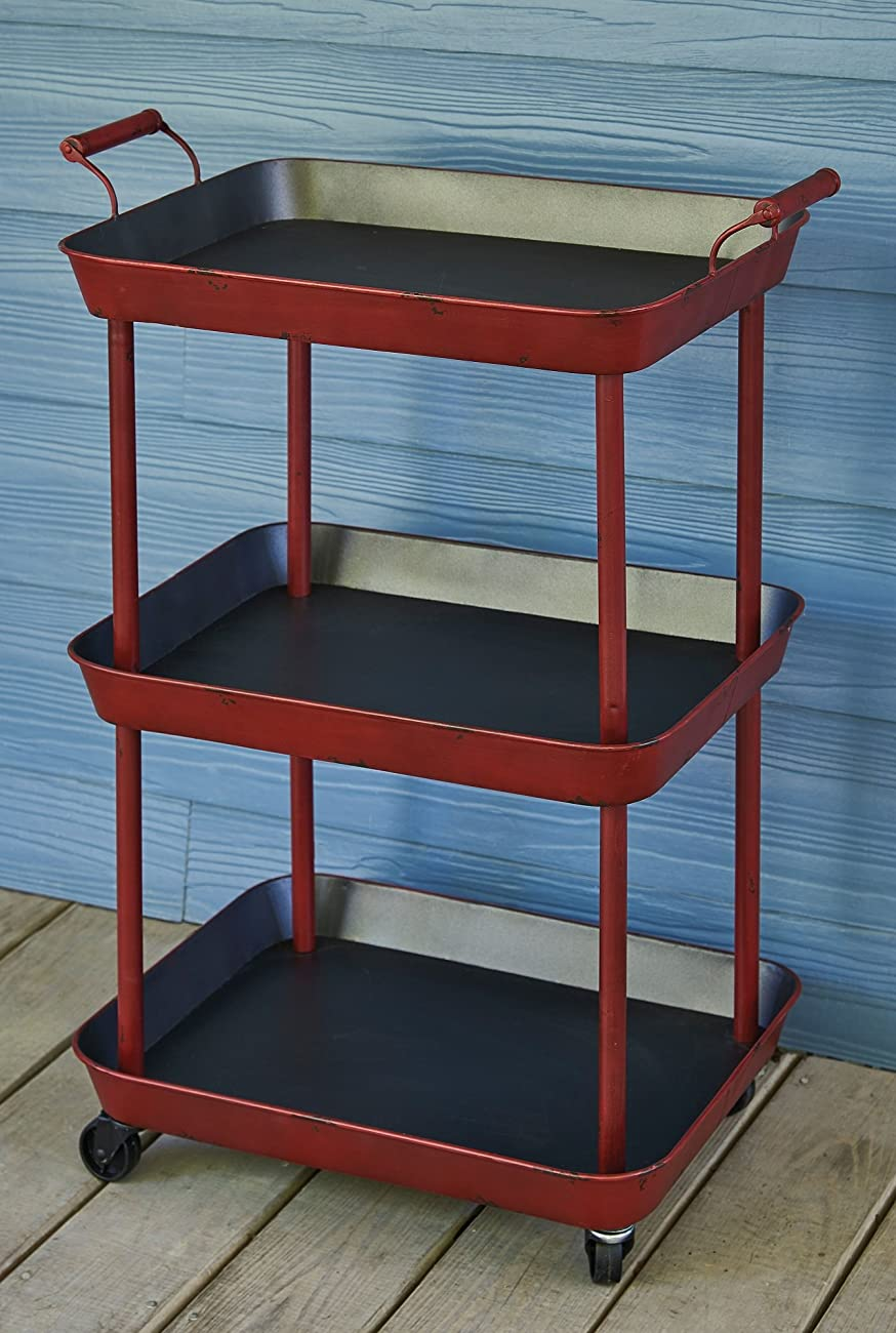 Vintage Red Serving Cart - Great for Bar or Kitchen Storage 1