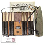 Walker & Williams DSB-2 Leather Drum Stick Bag with Heavy Canvas Carrying Bag (Color: Brown)