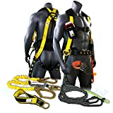 KwikSafety (Charlotte, NC) TYPHOON KIT | 3D Full Body Tongue Buckle w/Back Support Safety Harness, Bolt Pouch, 6' Lanyard, Tool Strap, 3' Anchor ANSI PPE Fall Protection Equipment Construction Bucket (Color: Harness + Lanyard + Tool Lanyard + Anchor Strap, Tamaño: KIT (SAVE $10))