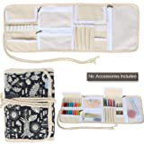Teamoy Crochet Hook Case, Canvas Roll Bag Holder Organizer for Various Crochet Needles and Knitting Accessories, Compact and All-in-one, Animal World (Color: Animal World, Tamaño: Canvas Crochet Hook Case)