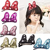Cute Sparly Sequins Glitter Minnie Bows Rabbit Ears Bunny Hiar Bow Alligator Clips for Baby Girls,Toddlers (Color: Multi-colored, Tamaño: 3 Inches)