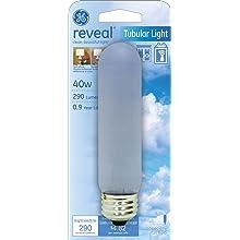 GE Lighting 48709 40-Watt Reveal Frost Tubular T10 Light Bulb, 1-Pack