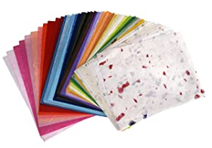 MulberryPaperStock 65 Hand Made Tissue Mulberry Paper Sheets Natural Fiber 8.5 x 11-inch Design for Japanese Origami and Hand Craft Include Red Green Blue Yellow Color (Color: red green navy blue pink rainbow black white Yellow Violet Turquoise SkyBlue Salmon RoyalBlue Pink , Tamaño: 8.5 x 11)