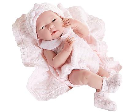 Berenguer - Poupon réaliste petite fille - tenue rose en tricot avec couverture