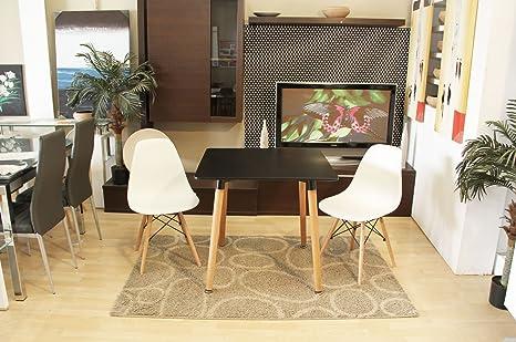 Conjunto mesa Eames negro 80 x 80 cm. + 2 silla623