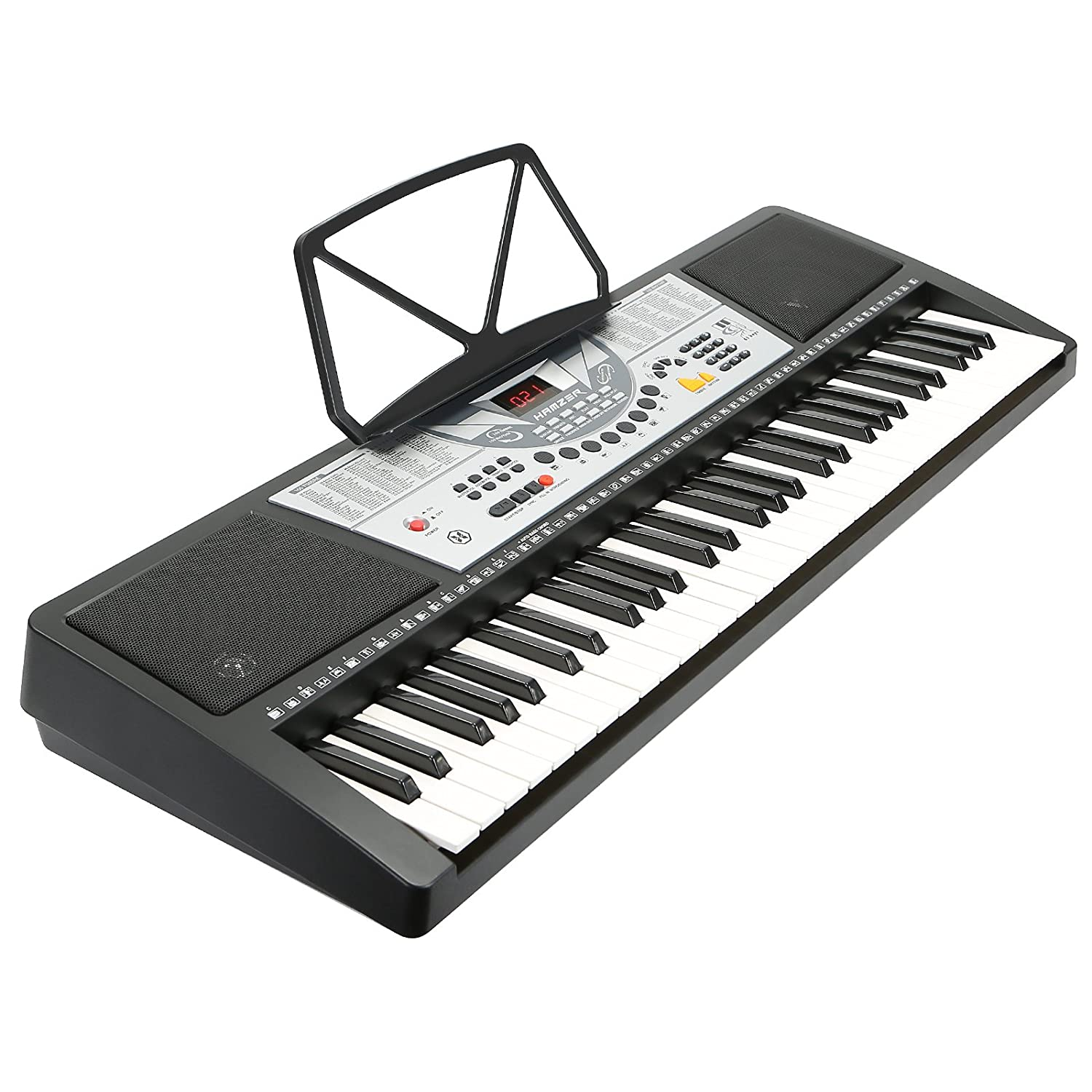 Hamzer 61-Key Digital Music Piano Keyboard - Portable Electronic Musical Instrument - LCD Display