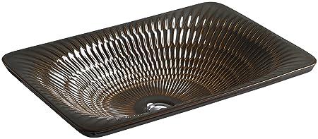 KOHLER K-17916-RL-RB2 Derring Design on Carillon Wading Pool Rectangular Bathroom Sink, Bourbon Rutile
