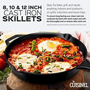 6-Inch 8-Inch and 10-Inch Pre-Seasoned Cast Iron Skillet 3-Piece Chef Set 3 Heat-Resistant Holders Induction Safe Oven Safe Cookware Grill Stovetop Indoor and Outdoor Use