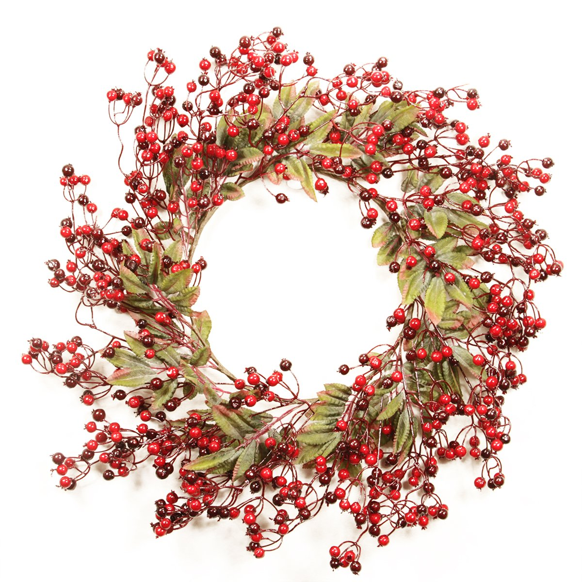 20 Festive Red Berry and Holly Leaves Artificial Christmas Wreath