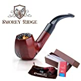 Tobacco Pipe with a Gift Accessories Set. Premium Handcrafted Red Wood Tobacco Smoking Pipe, Perfect Gentleman's Gift of a Vintage Wooden Smoking Pipes for Tobacco-Aurora by Smokey Ridge Tobacco Pipes (Color: Mahogany Red)