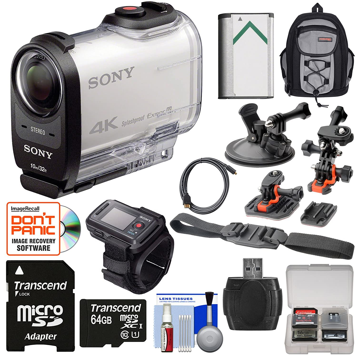 Sony Action Cam FDR-X1000VR Wi-Fi 4K HD Video Camera Camcorder & Remote + 64GB Card + 2 Helmet, Flat & Suction Cup Mounts + Battery + Backpack Kit