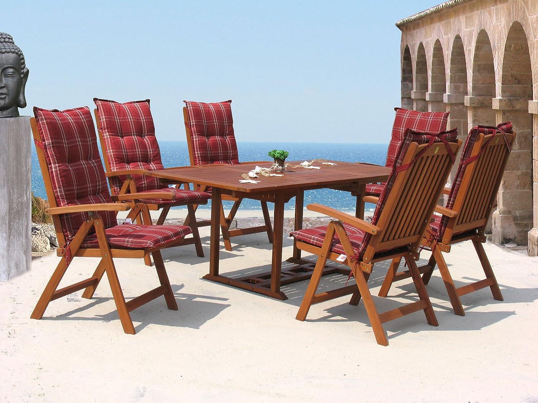 Garten Möbelgruppe Cuba 13tlg Rubin gestreift mit ausziehbaren Tisch