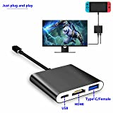 I VIKKLY HDMI Type-C Adapter Dock for Nintendo Switch, Macbook, Samsung Galaxy S8 / S8 Plus ,1080P TV HDMI Converter Cable for Nintendo Switch