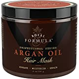 Argan Oil Hair Mask, 100% ORGANIC Argan & Almond Oils - Deep Conditioner, Hydrating Hair Treatment Therapy, Repair Dry Damaged, Color Treated & Bleached Hair - Hydrates & Stimulates Hair Growth, 8 Oz (Color: Gold, Tamaño: 8 Oz)