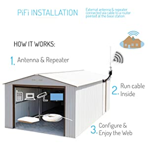 Long Range Outdoor WiFi Repeater Kit (Color: Grey)