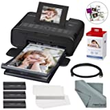 Canon SELPHY CP1200 Wireless Color Compact Photo Printer Bundle with Canon KP-108IN Color Ink and Paper Set & Cable + FiberTique Cleaning Cloth (Color: Black, Tamaño: Printer + 1PK)