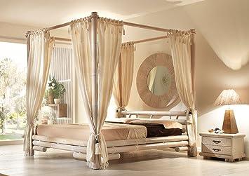 Himmelbett Bambus Liegefläche 200 cm x 200 cm Tabanan | Bett mit Himmel Natur Holz | Bali Möbel