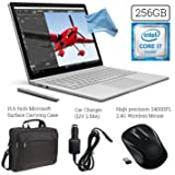 Microsoft Surface Book (256GB SSD, 8GB RAM, Intel 6th Gen Intel i7 + 15.6-Inch Microsoft Surface Carrying Case + 2.4G Wireless Portable Mobile Optical Mouse + Car Charger + DigitalAndMore Cloth
