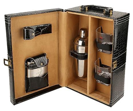 Diseñador pu cuero viaje vino portador caso superior manija caja regalo conjunto - negro