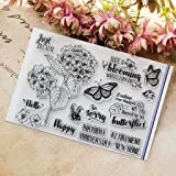 Seaskyer Clear Stamps for Cards Making,Silicone Stamps Flower, Flower DIY Silicone Clear Stamp Cling Seal Scrapbook Embossing Album Decor Craft
