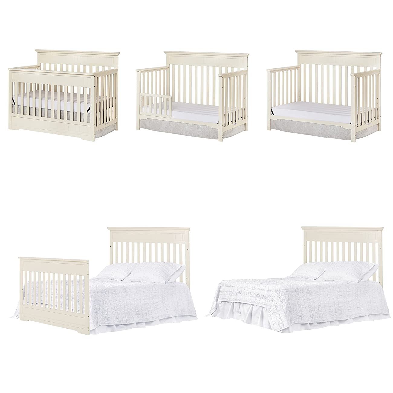 Dream On Me Chesapeake 5-In-1 Convertible Crib, French White 6