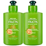 Garnier Hair Care Fructis Sleek & Shine Intensely Smooth Leave-In Conditioning Cream, 2 Count (Color: Sleek & Shine, Tamaño: 2 Count)