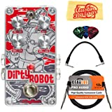 DigiTech DirtyRobot Stereo Mini-Synth Pedal Bundle with Instrument Cable, Patch Cable, Picks, and Austin Bazaar Polishing Cloth