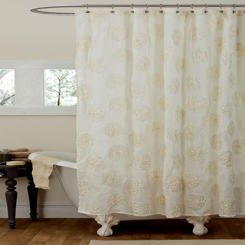 Lush Decor Samantha Shower Curtain Ivory New Free
