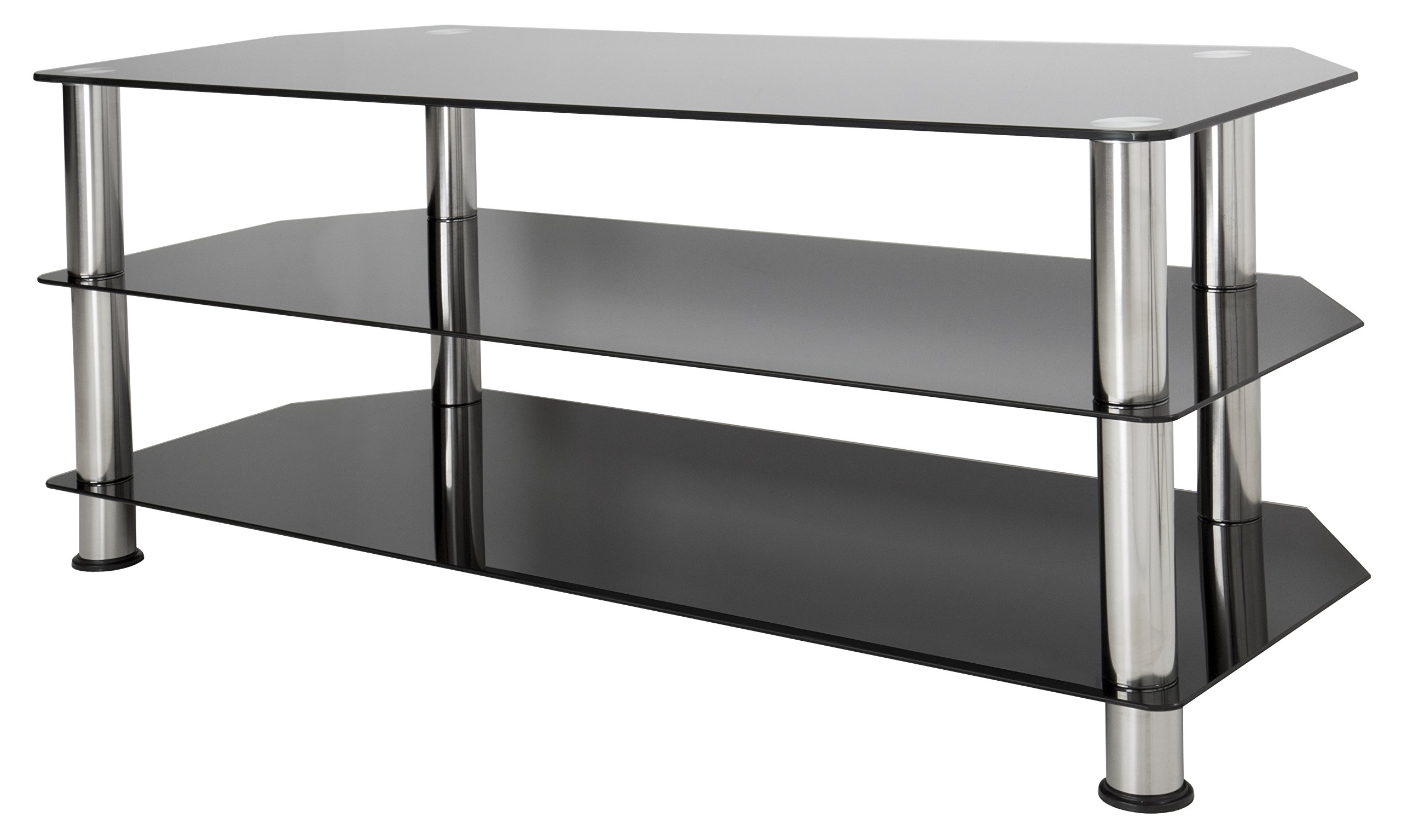 avf sdc1140 a tv stand for up to 55 inch tvs black glass chrome legs ebay. Black Bedroom Furniture Sets. Home Design Ideas
