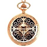 Mens Dress Gentleman Vintage Skeleton Mechanical hand wind Pocket Watch With Gift Box