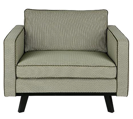 Fauteuil design en Trevira, finition vert - Dim : H 85 x L 105 x P 86 cm - PEGANE -