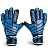 Valorsports Youth&Adult Goalie Goalkeeper Gloves,Strong Grip for The Toughest Saves, with Finger Spines to Give Splendid Protection to Prevent Injuries (BlackBlue, 7) (Color: BlackBlue, Tamaño: 7)