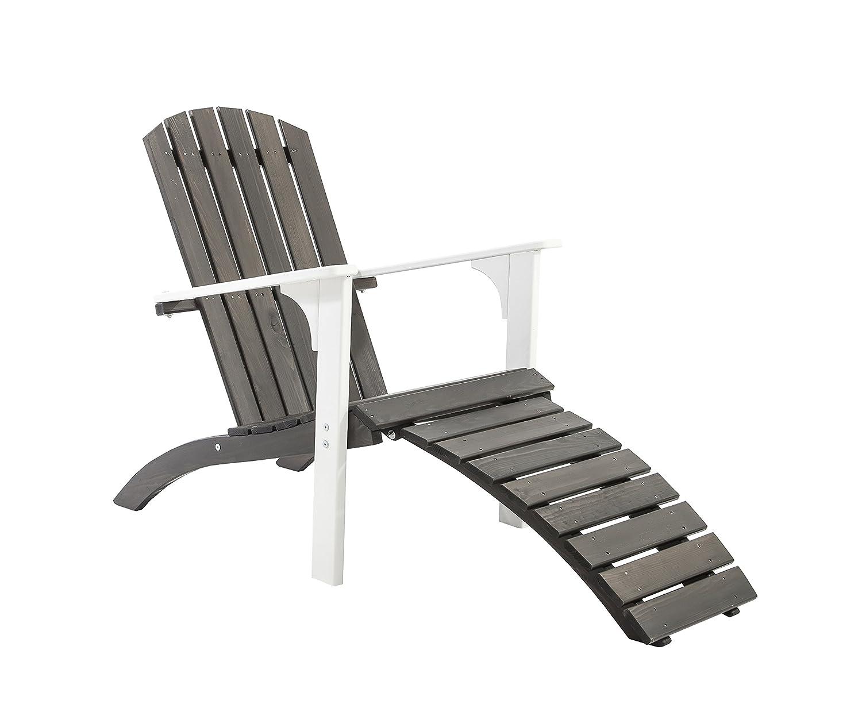 GARDENho.me Nordischer ADIRONDACK Chair Falun Massivholz Deckchair Weiß/Taupegrau