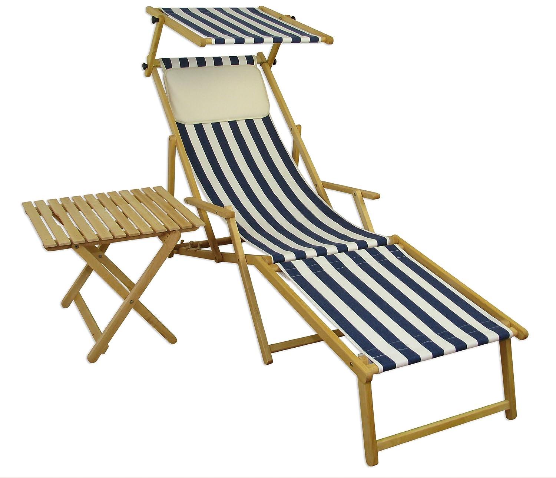 Sonnenliege Gartenliege Deckchair Saunaliege inkl. abnehmbarem Fußteil + Dach + Tisch Beige online kaufen