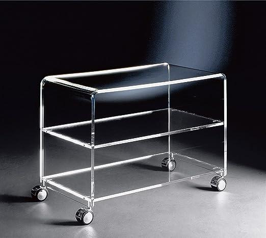 Hochwertiger Acryl-Glas TV-Wagen / TV-Tisch mit 4 Chromrollen, klar, 63 x 38 cm, H 48 cm, Acryl-Glas-Stärke 10 / 12 mm