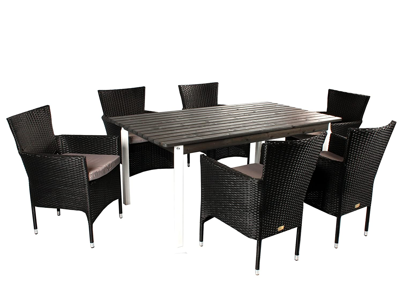 7tlg. Polyrattan Holz Sitzgruppe Siena, Stapel-Sessel und 160er Tisch Weiß/Taupegrau, Sessel schwarz und NICHT ZERLEGT! online kaufen