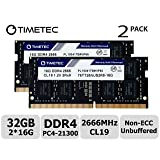 Timetec Hynix IC 32GB Kit (2x16GB) DDR4 2666MHz PC4-21300 Unbuffered Non-ECC 1.2V CL19 2Rx8 Dual Rank 260 Pin SODIMM Laptop Notebook Computer Memory RAM Module Upgrade (32GB Kit (2x16GB)) (Tamaño: 32GB Kit (2x16GB))