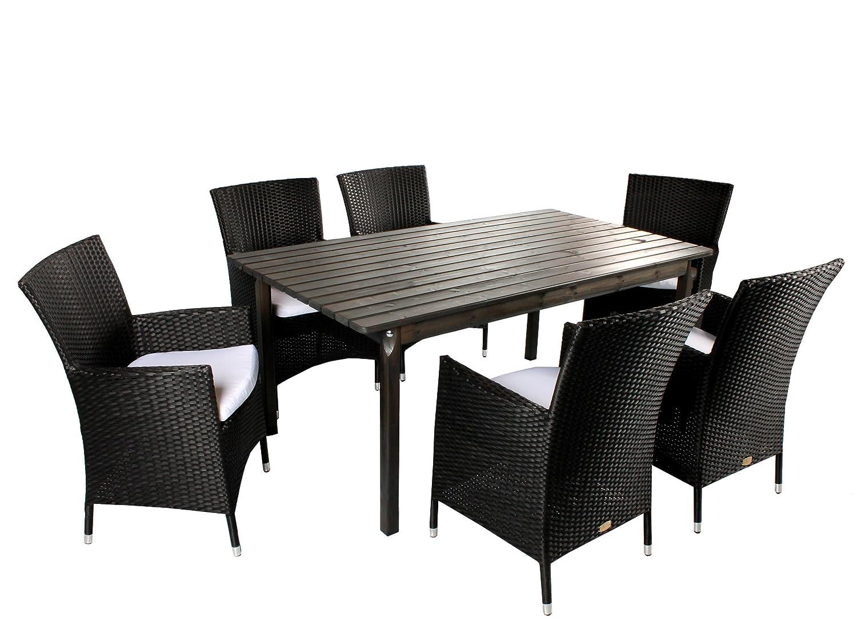 GARDENho.me 7tlg. Polyrattan Holz Sitzgruppe Pesaro, Polyrattan Sessel schwarz und 160er Tisch Taupegrau