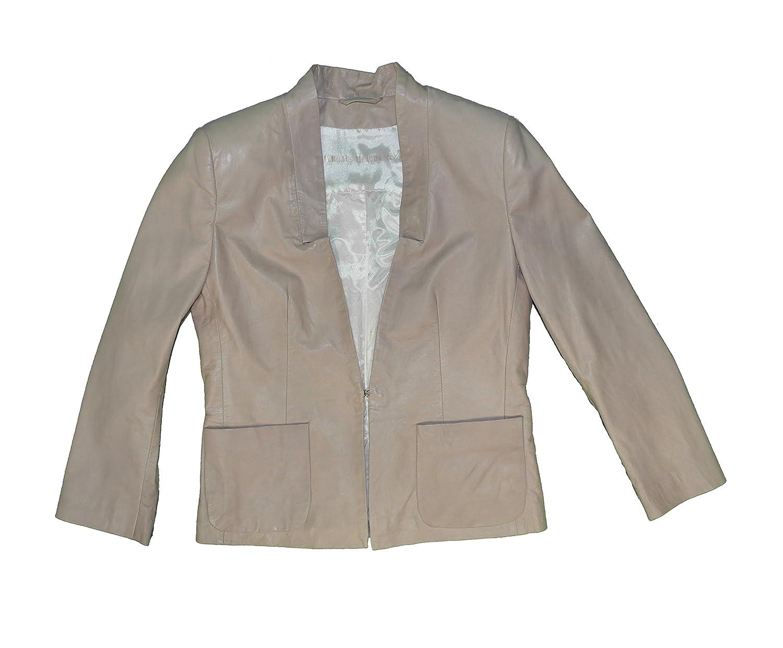 Damen Lammnappa Leder Jacke, F/S 2015, hochwertige Markenware, Farbe Taupe, Moonbeam (106660)