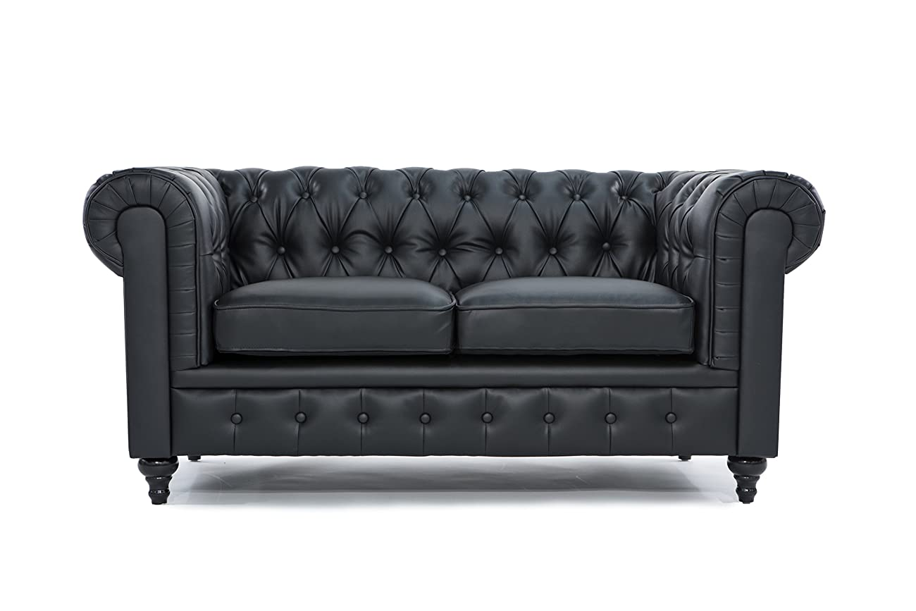 Classic Scroll Arm Tufted Bonded Leather Chesterfield 2 Seater Loveseat (Black) 0